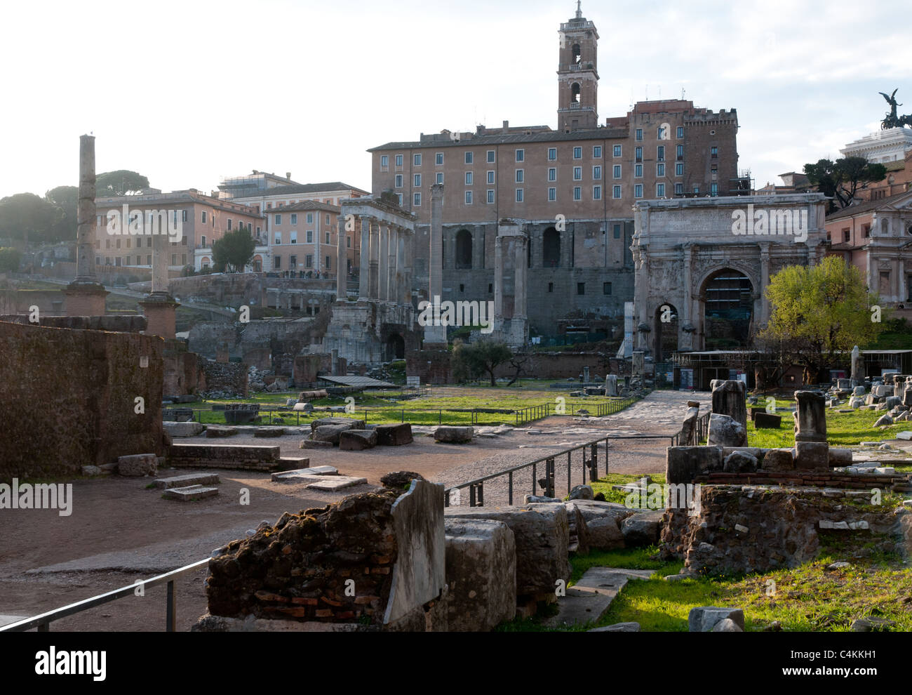 The main Via Sacra of the Roman Forum, Foro Romano, Rome, Italy - Stock Image