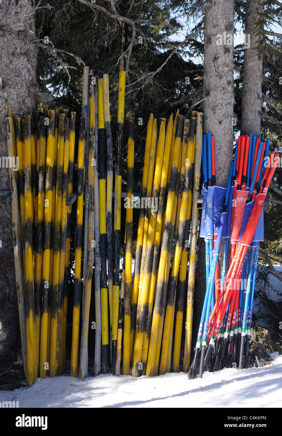 Yellow and black poles stacked ready for use on the piste. - Stock Image