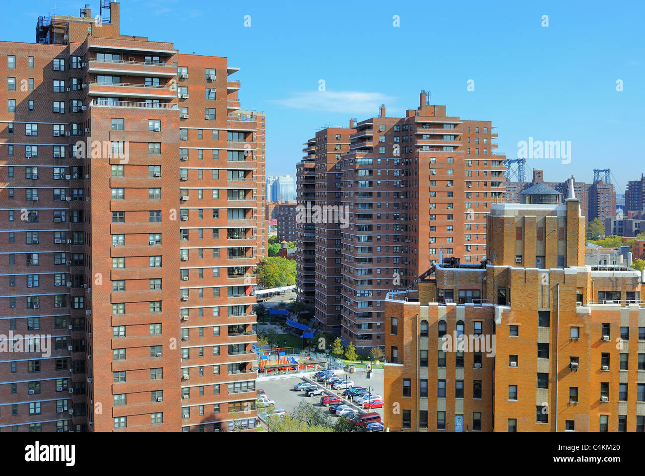 High Rise apartment complexes compose the skyline of the Lower East Side New York City. - Stock Image