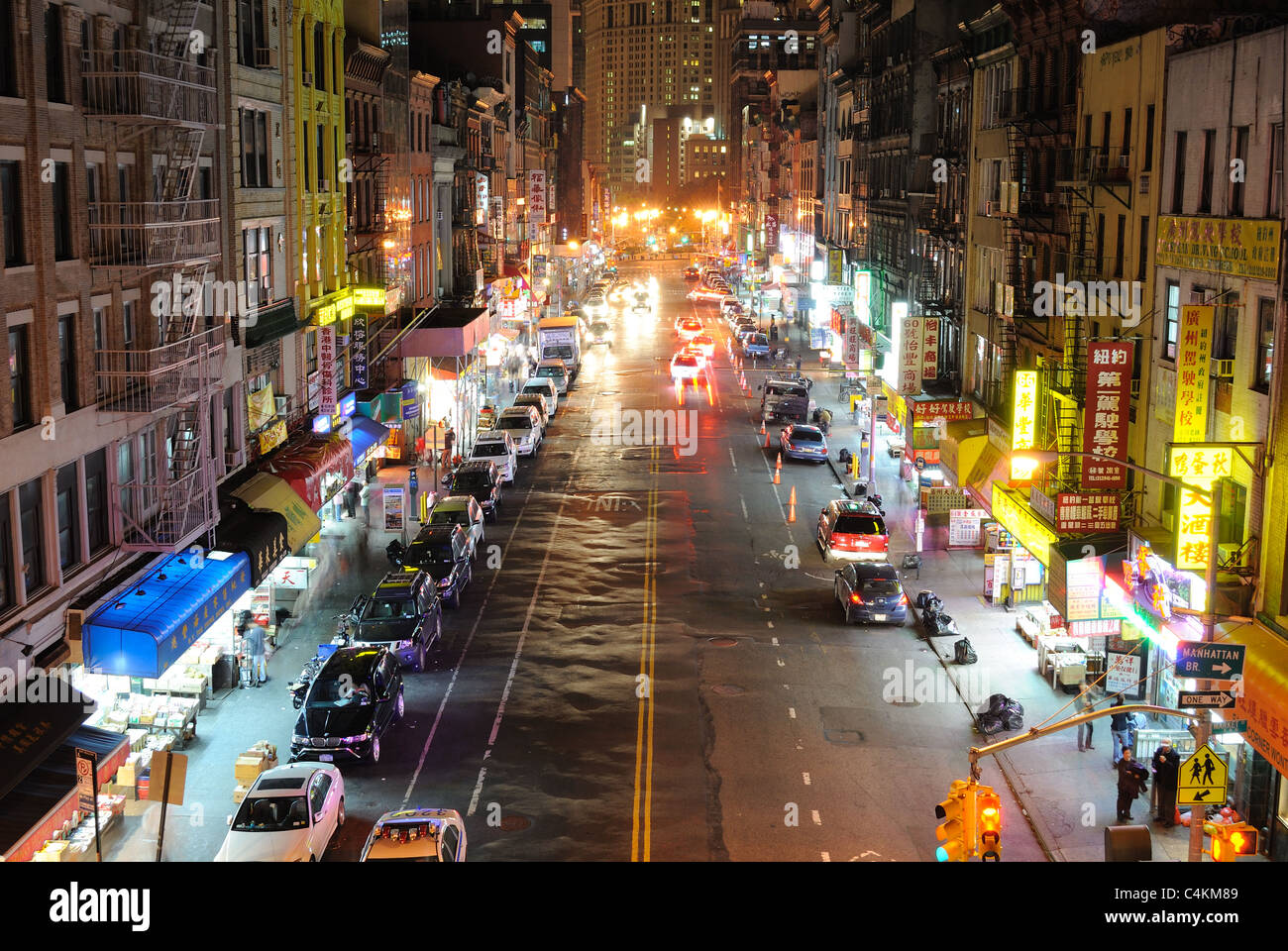 A Commercial Street In Chinatown New York City At Night October Stock Photo Alamy