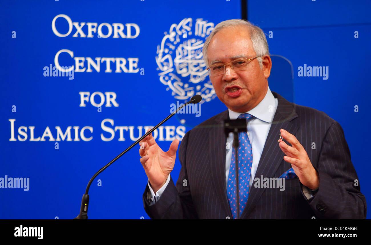 OXFORD - MAY 16: Prime Minister of Malaysia, Dato' Sri Mohd Najib Tun Razak delivering a talk at the University Stock Photo