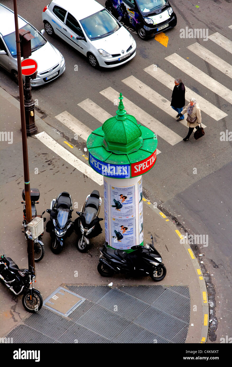 Street scene from roof of Galerie Lafayette, Paris, France, Europe - Stock Image