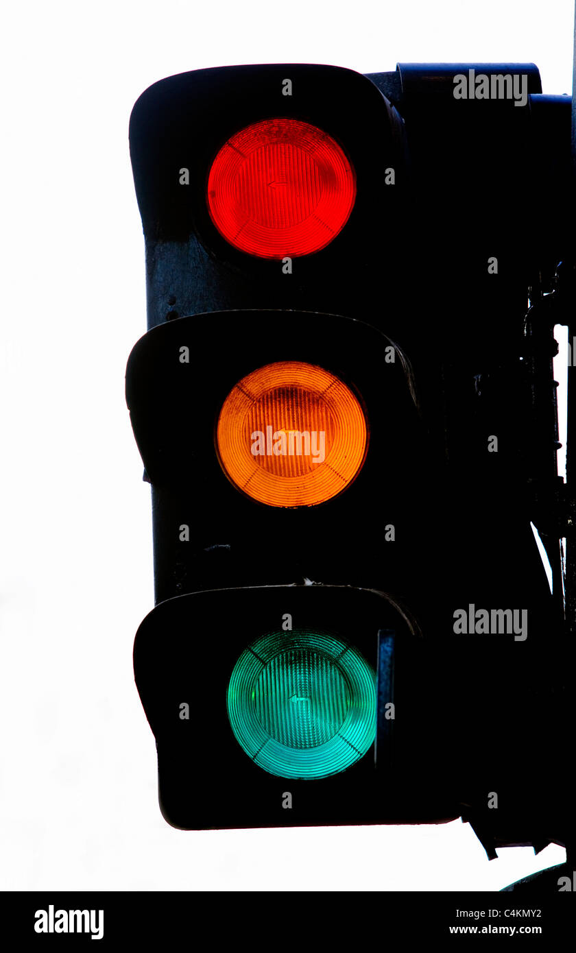 Unusual signal at Traffic light, Paris, France, Europe - Stock Image