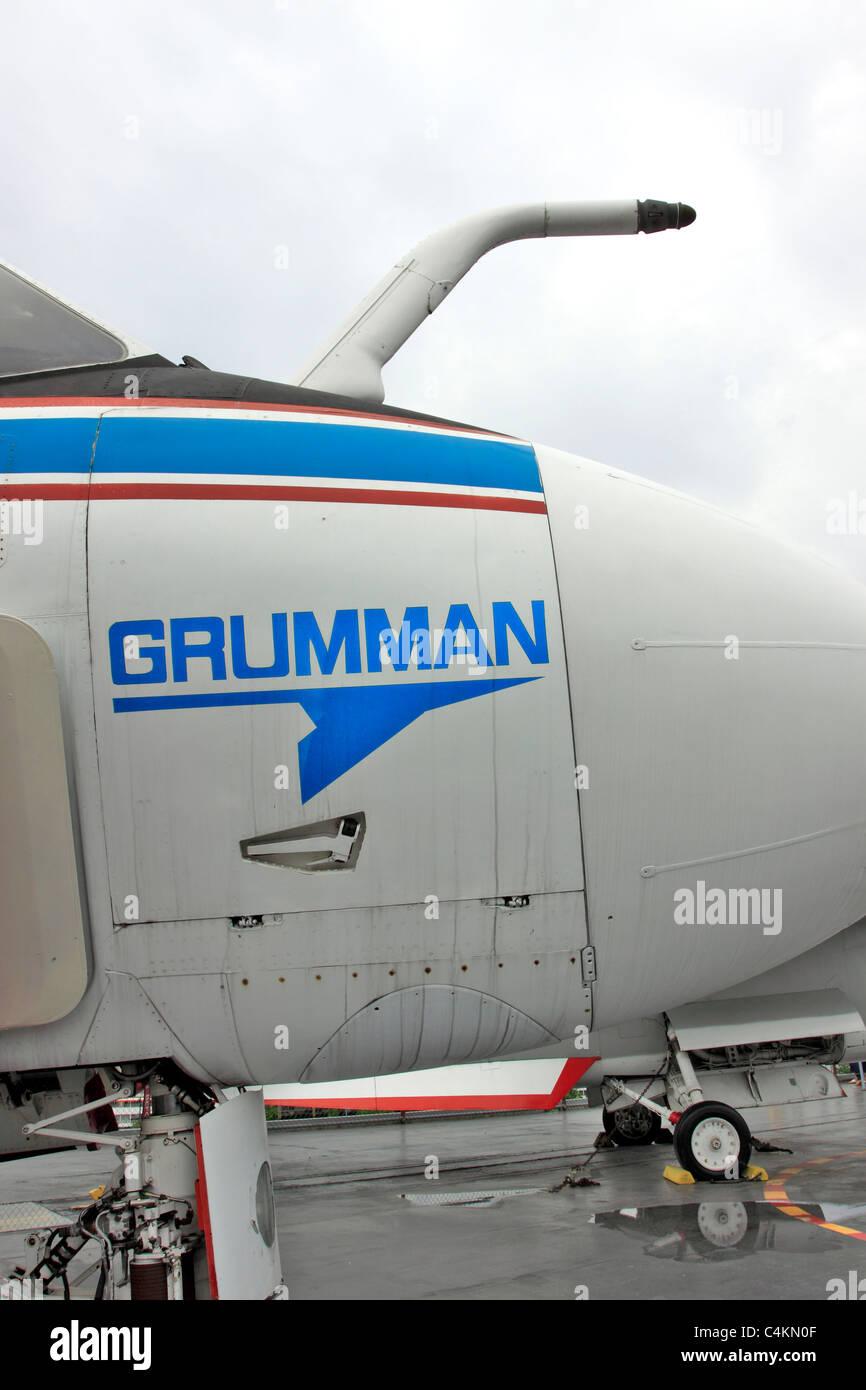 Nose of Grumman A-6 Intruder on the flight deck of the USS Intrepid Aircraft Carrier museum Pier 86 Manhattan New - Stock Image