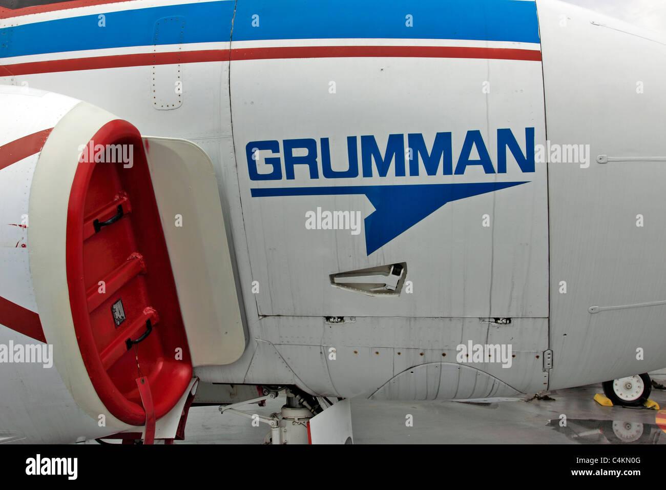 Engine intake of Grumman A-6 Intruder on the flight deck of the USS Intrepid Aircraft Carrier museum Manhattan New - Stock Image