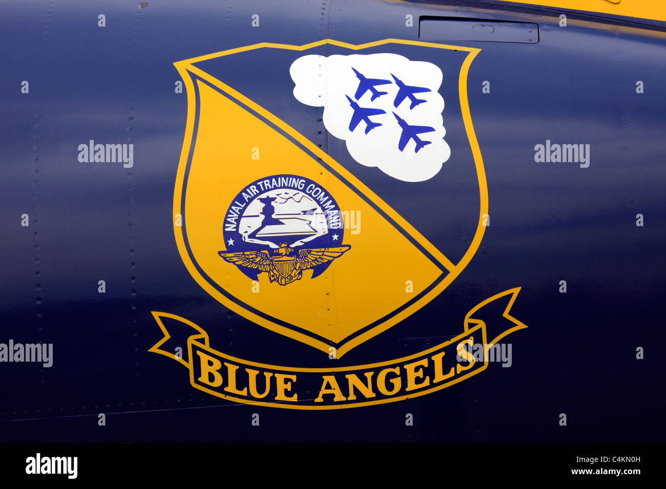 Logo of the U.S. Navy Blue Angels precision flying team on side of aircraft, USS Intrepid Aircraft Carrier museum - Stock Image