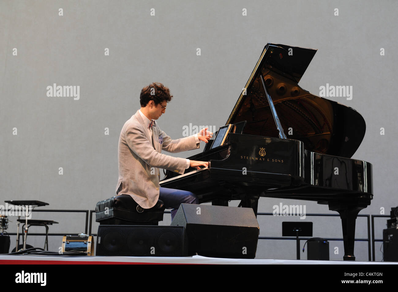 A pianist playing during the Bang on a Can festival of contemporary music at the Winter Garden in Battery Park City, - Stock Image