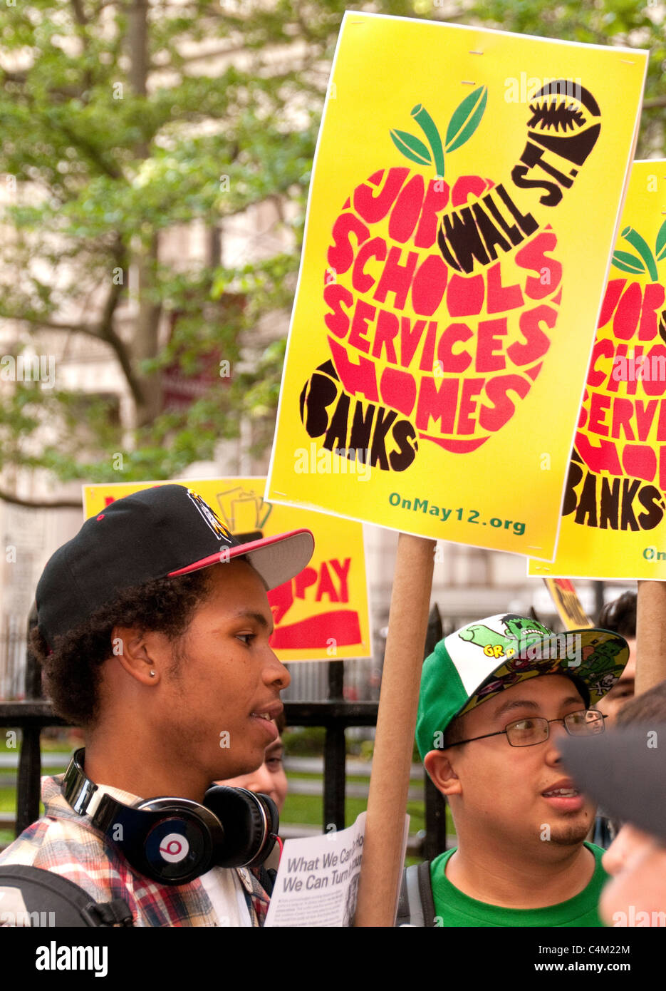 New York City, a protest against big banks, war, racial discrimination and in favor of more money for education...See - Stock Image