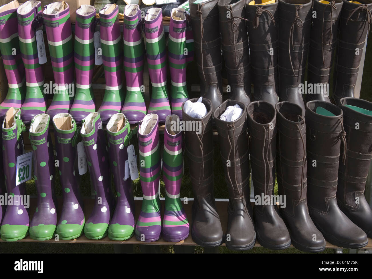 wellington boots for sale at the south of england show 2011 - Stock Image