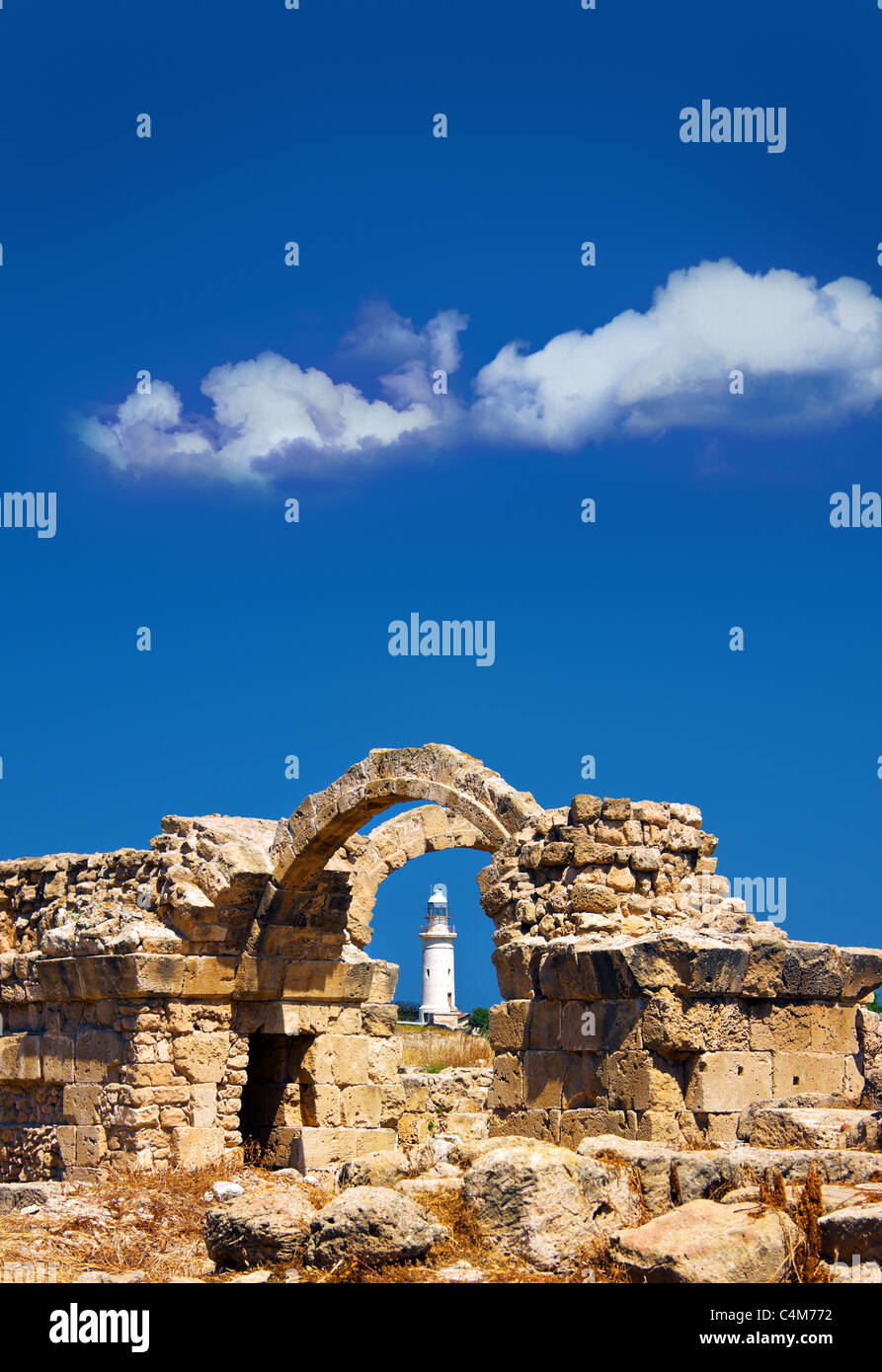Byzantine castle ruins at Sarantra Kolones,Paphos lighthouse,Archaeological Park,Pafos,Paphos,Cyprus - Stock Image