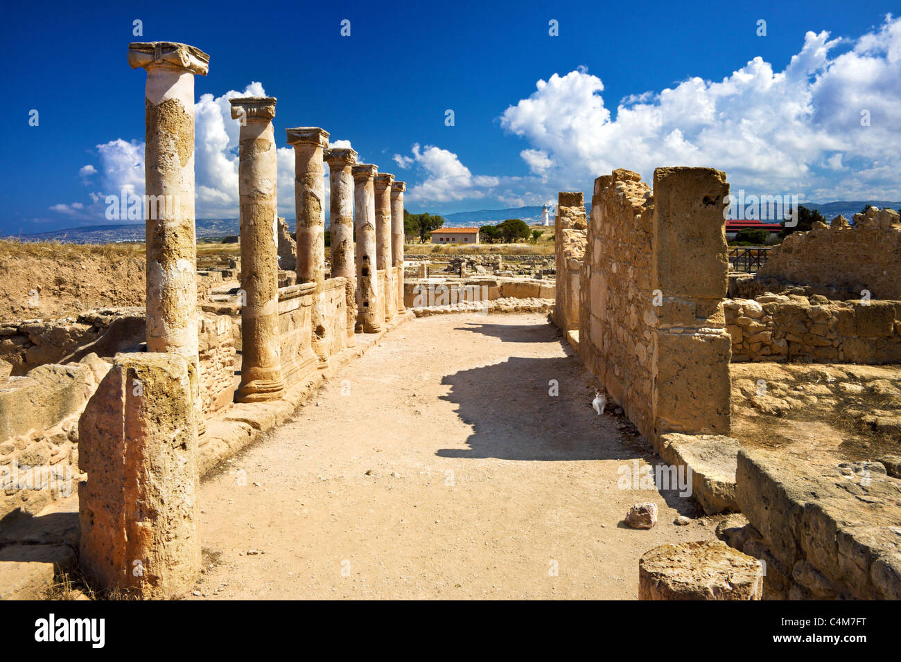 Roman columns, House of Theseus,Archaeological Park,Paphos,Pafos,Cyprus Stock Photo