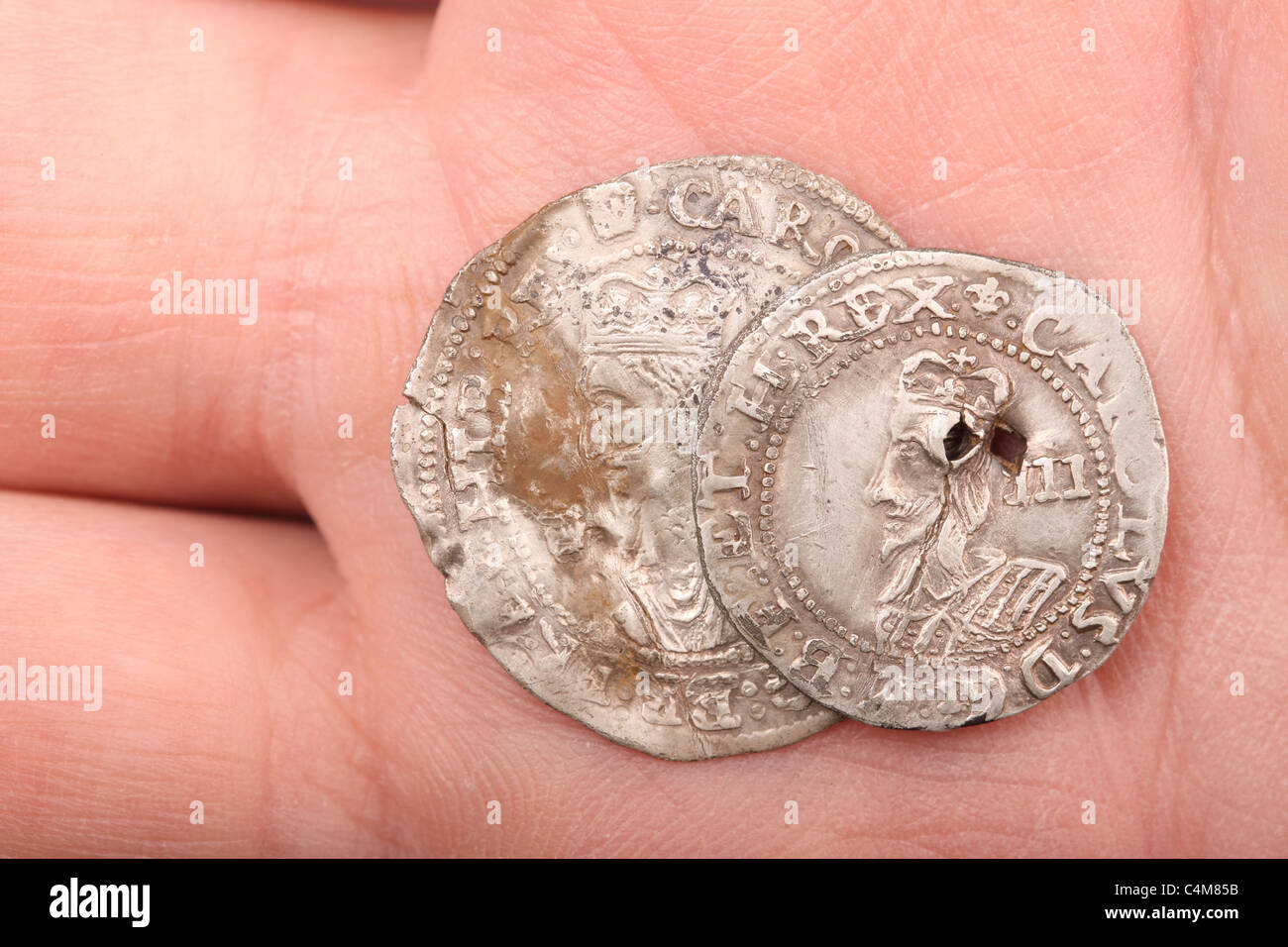 Charles 1st silver coins Threepence and Groat four pence found whilst metal detecting and declared as treasure - Stock Image