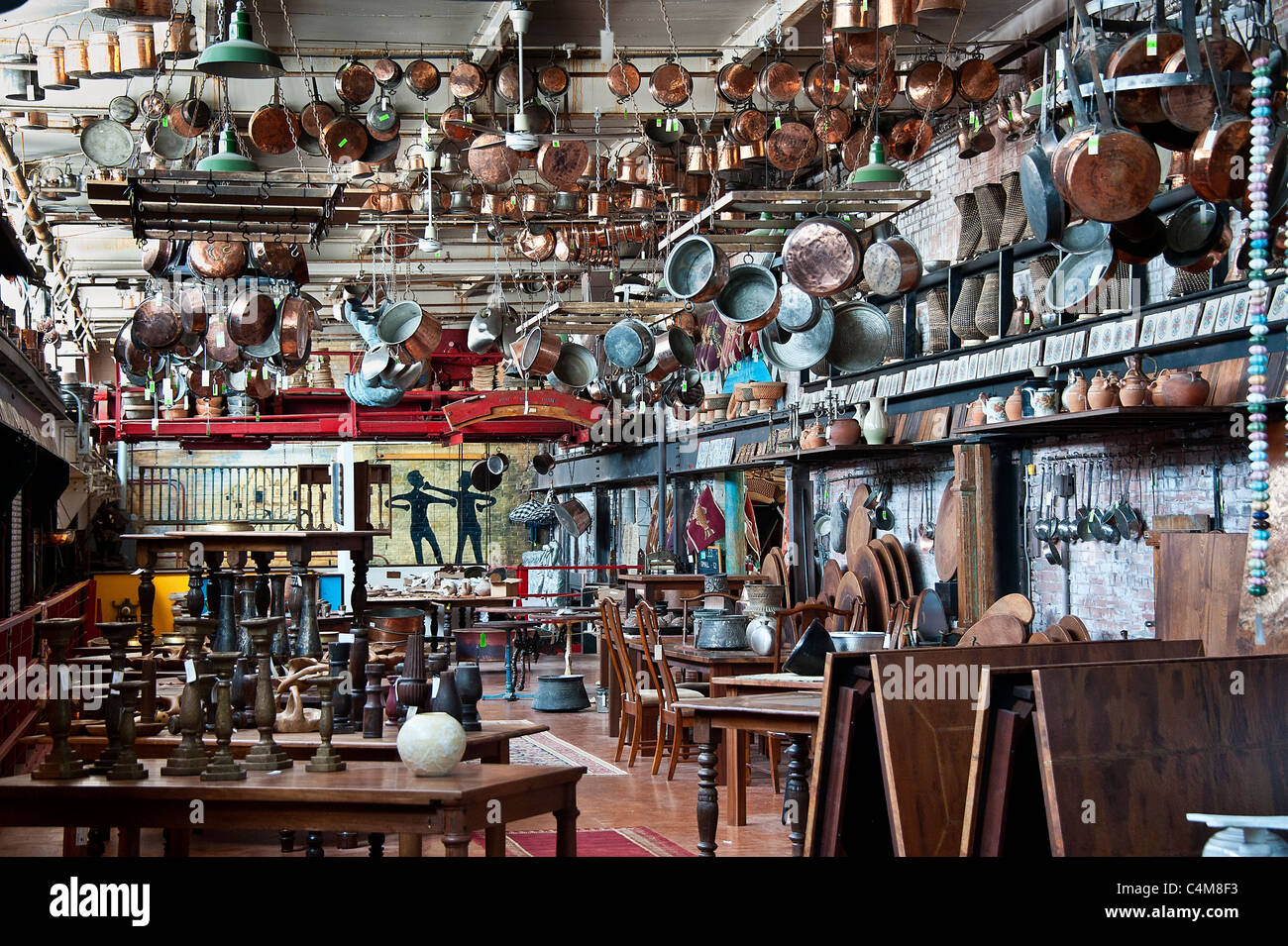 Imported asian and middle eastern antique showroom. - Stock Image