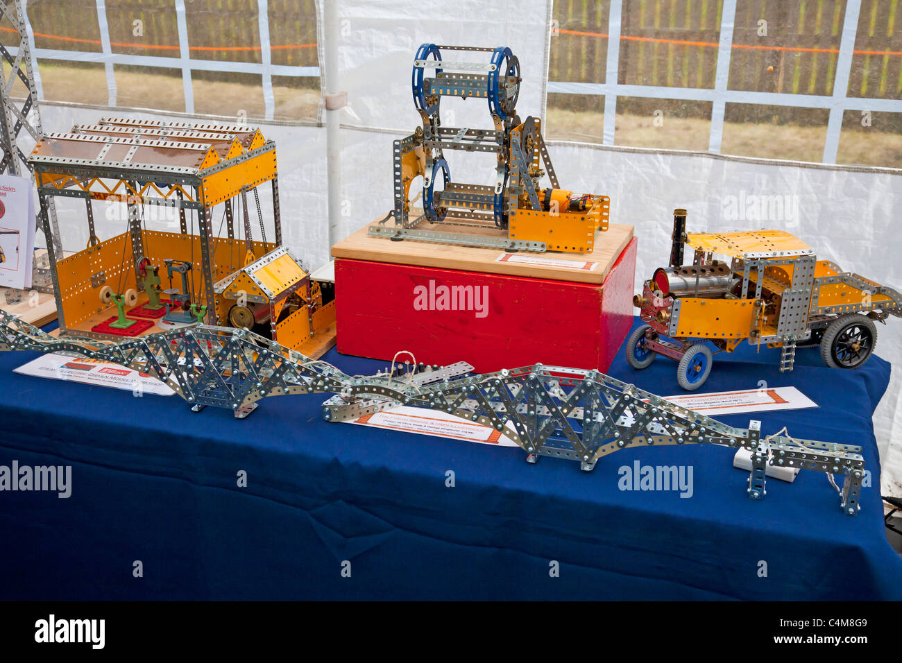 Traditional Meccano models including the Forth Rail Bridge and the Falkirk Wheel on show at Mauchline Holy Fair - Stock Image