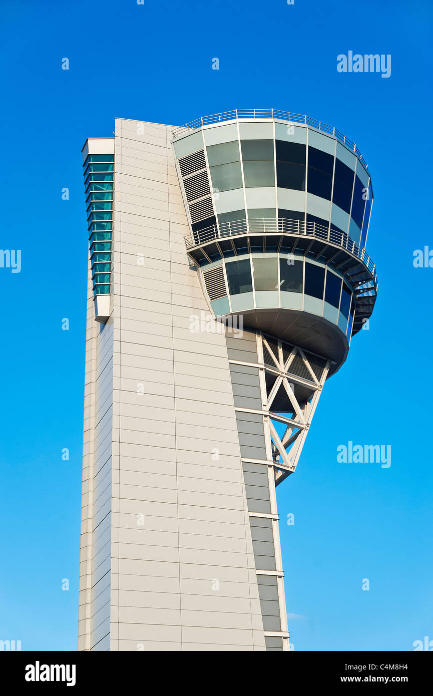 Air traffic control tower, Philadelphia International Airport. - Stock Image