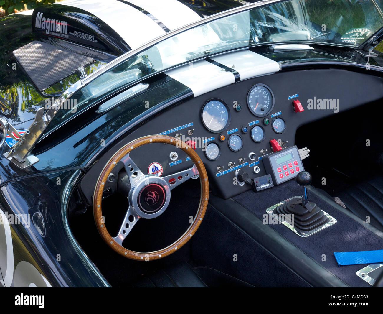 AC Cobra 427 cockpit dashboard race rallye equipped Stock Photo