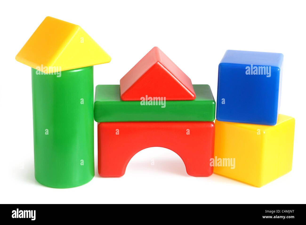 House made from children's plastic building blocks Stock Photo