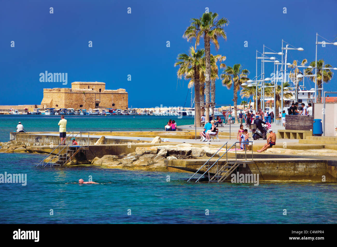 Paphos Fort,Kato Pafos,harbour,Cyprus - Stock Image