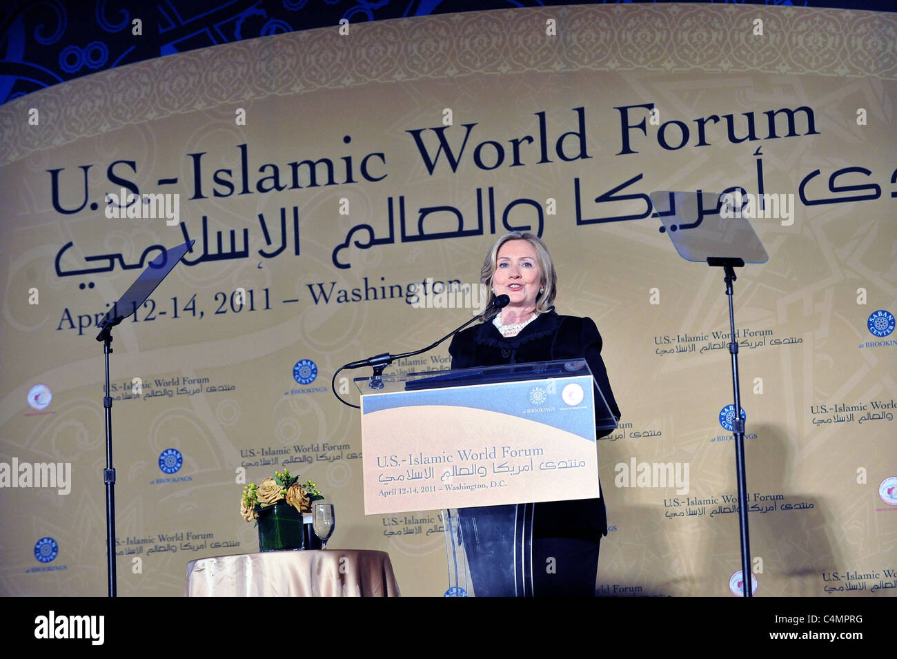 U.S. Secretary of State Hillary Rodham Clinton delivers remarks at the U.S.-Islamic World Forum in Washington, D.C. Stock Photo