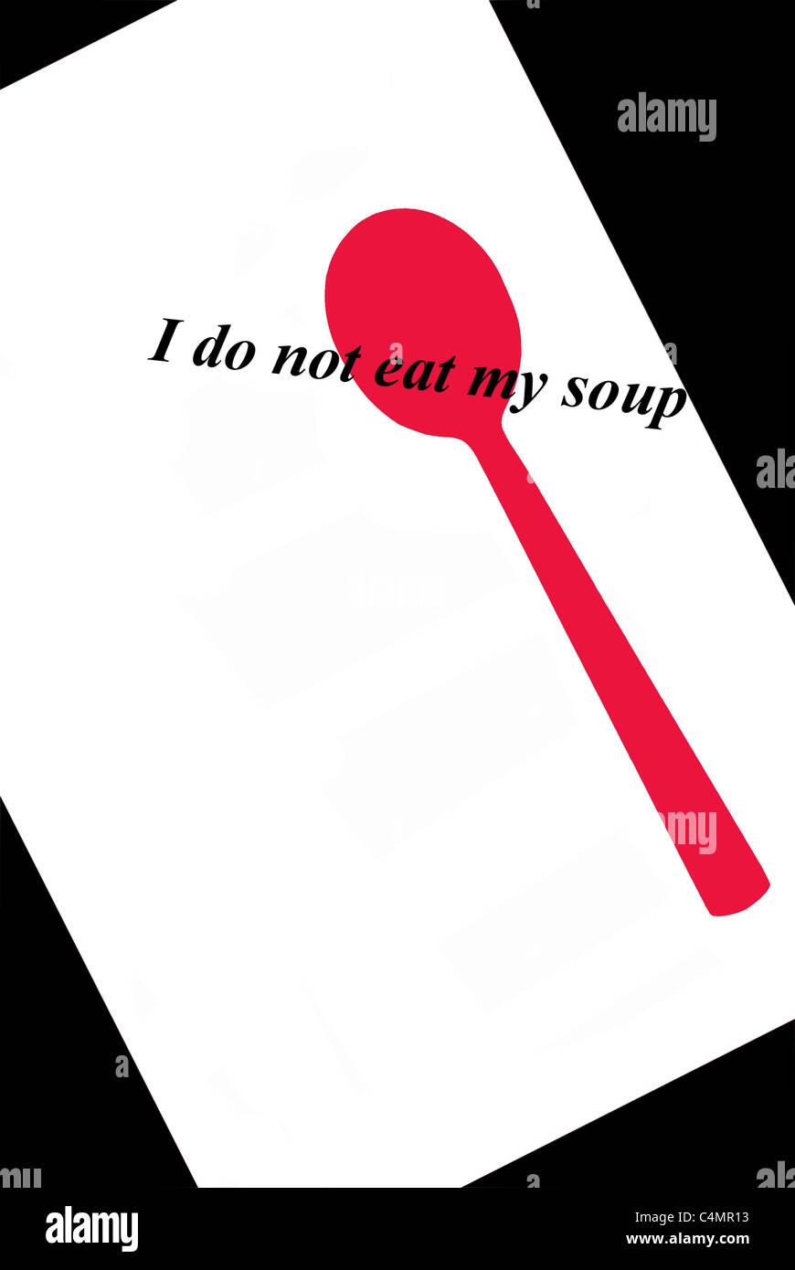 I do not eat my soup Stock Photo