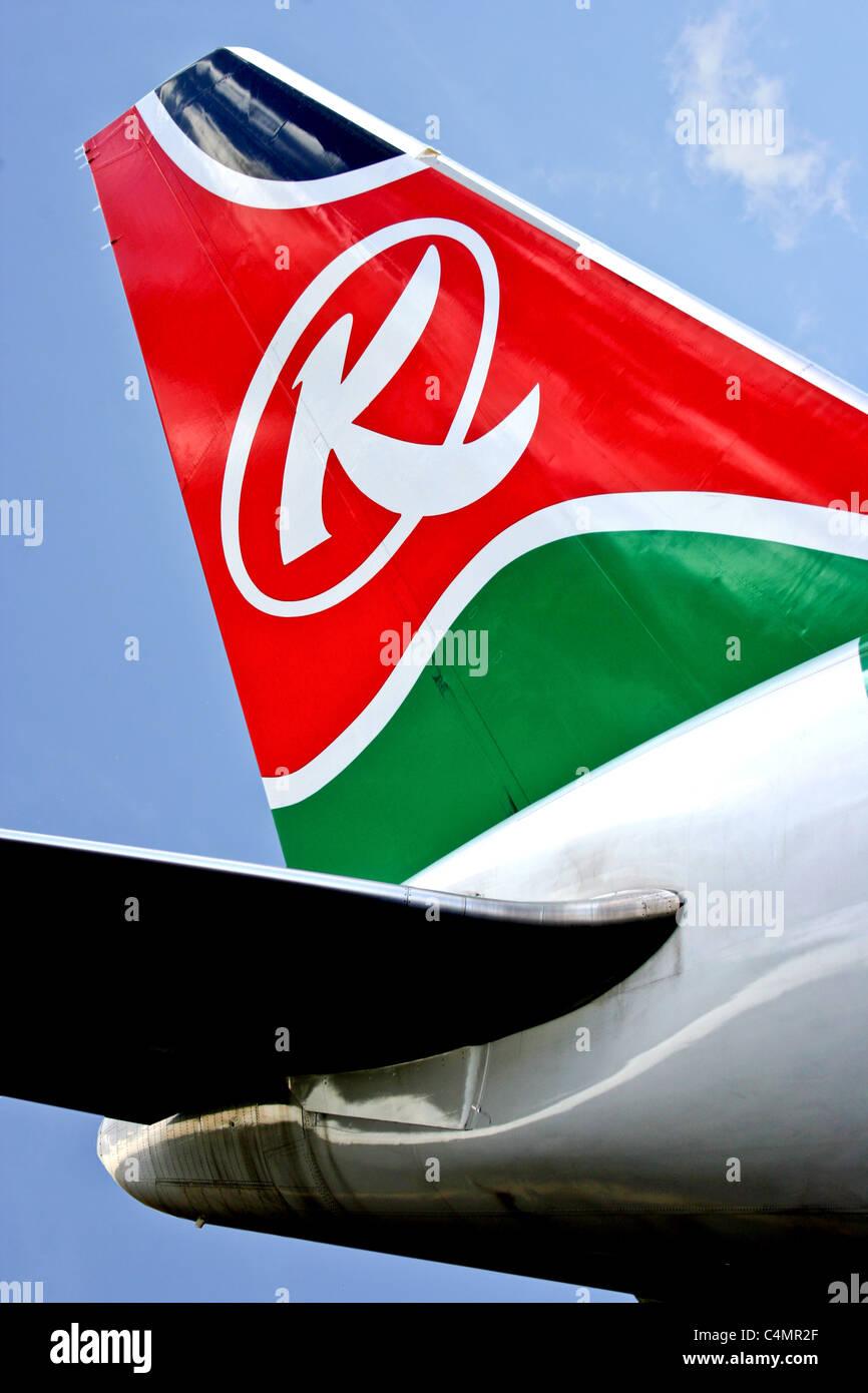 Kenya Airways Plane Livery Logo signage tailplane - Stock Image