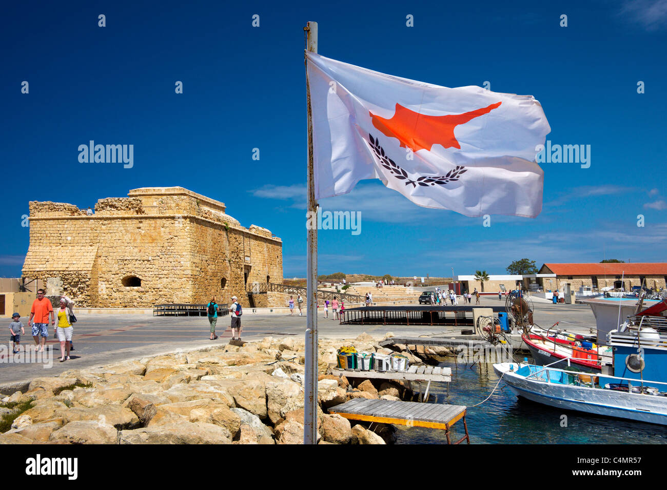 Cypriot flag,Pathos,Pafos,Cyprus.Fort and harbour. - Stock Image