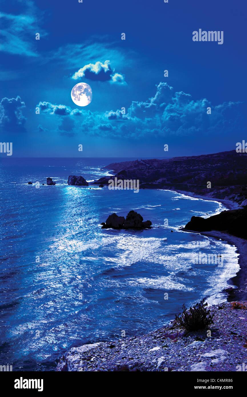 Aphrodite's rock ,Cyprus.moonlight night. - Stock Image