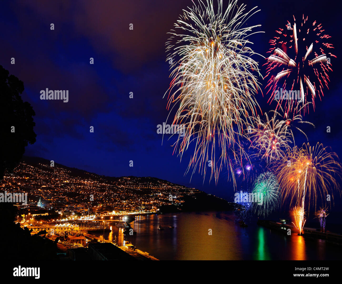 Fireworks over Funchal Harbour, Madeira. - Stock Image
