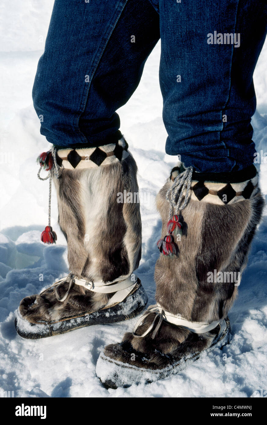 Mukluks made of animal skin and fur are