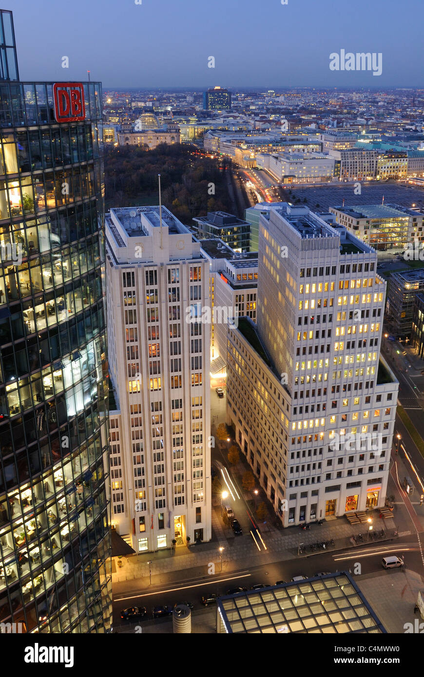 Potsdamer Platz square at dusk from above, with the Ritz Carlton Hotel, Beisheim Center DB Tower, Sony Center, Berlin, - Stock Image