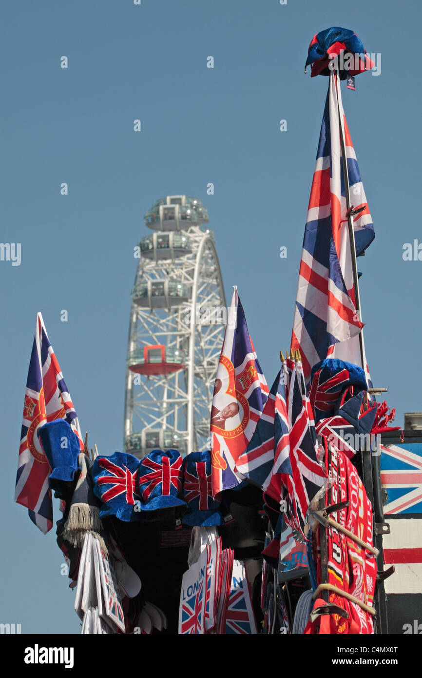 Assorted Union flags on a stall close to the London Eye big wheel, Westminster, London, UK. - Stock Image