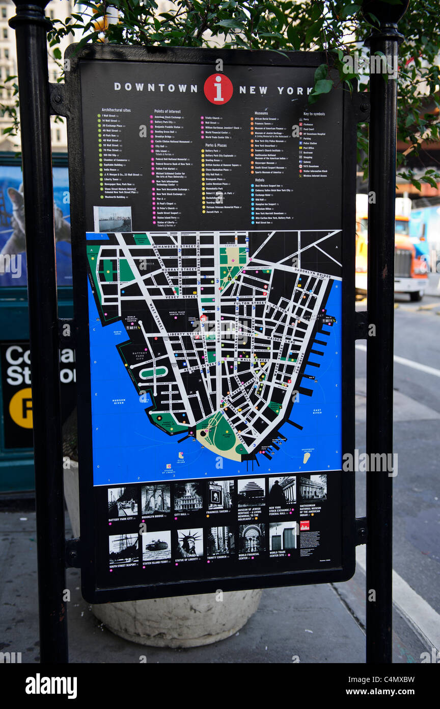 Map Of New York Landmarks.Detailed Streets Map And Building Landmarks Of Downtown New York