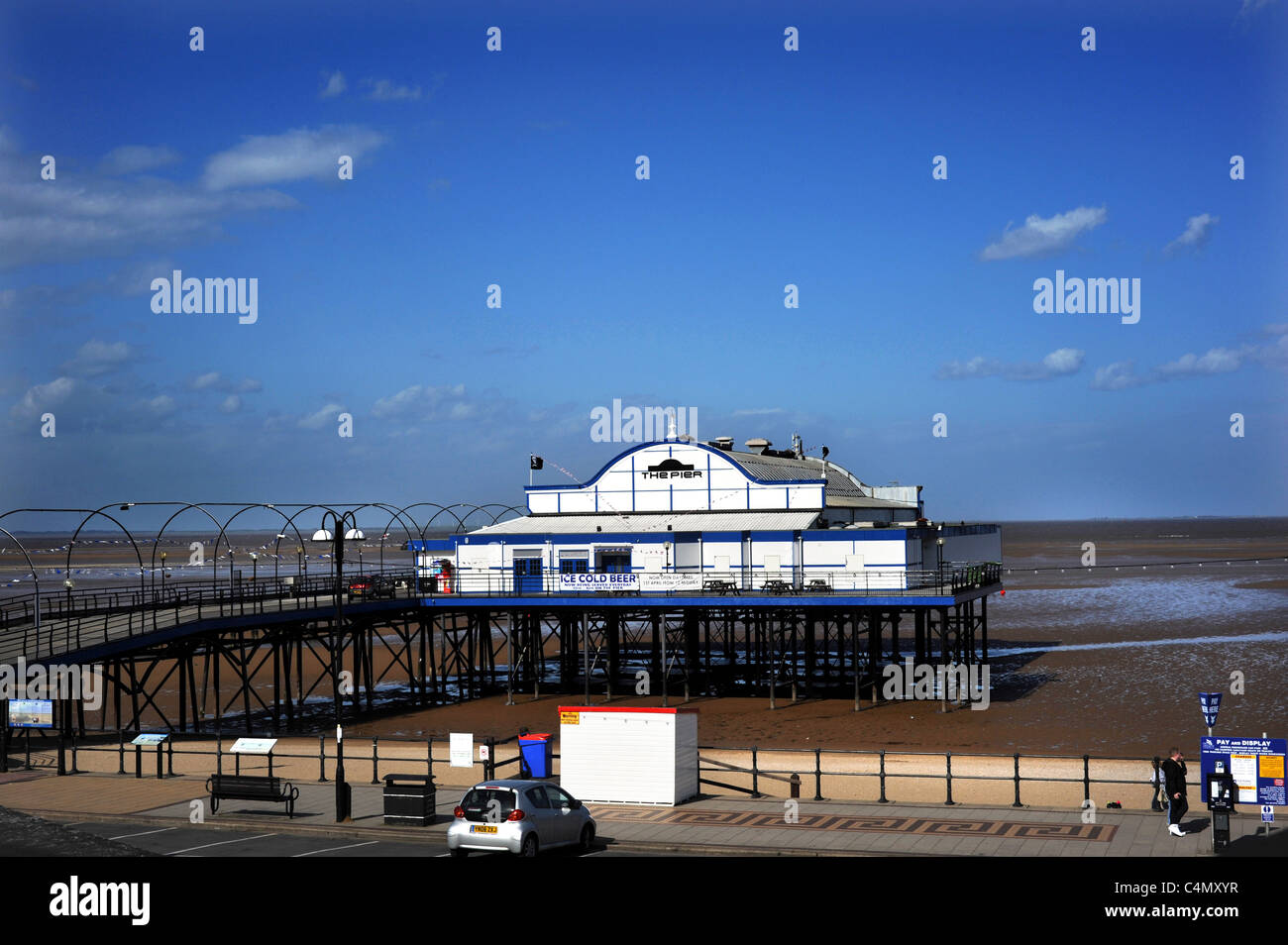 Cleethorpes Pier 39 a traditional victorian pier which is now a nightclub - Stock Image
