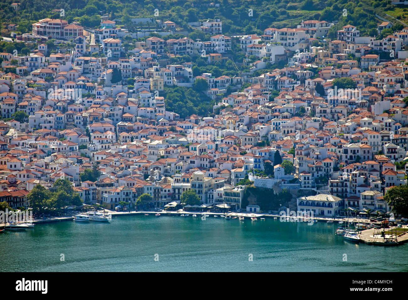 Birds Eye view of Skopelos Town and harbour, Skopelos Island, Northern Sporades, Greece Stock Photo