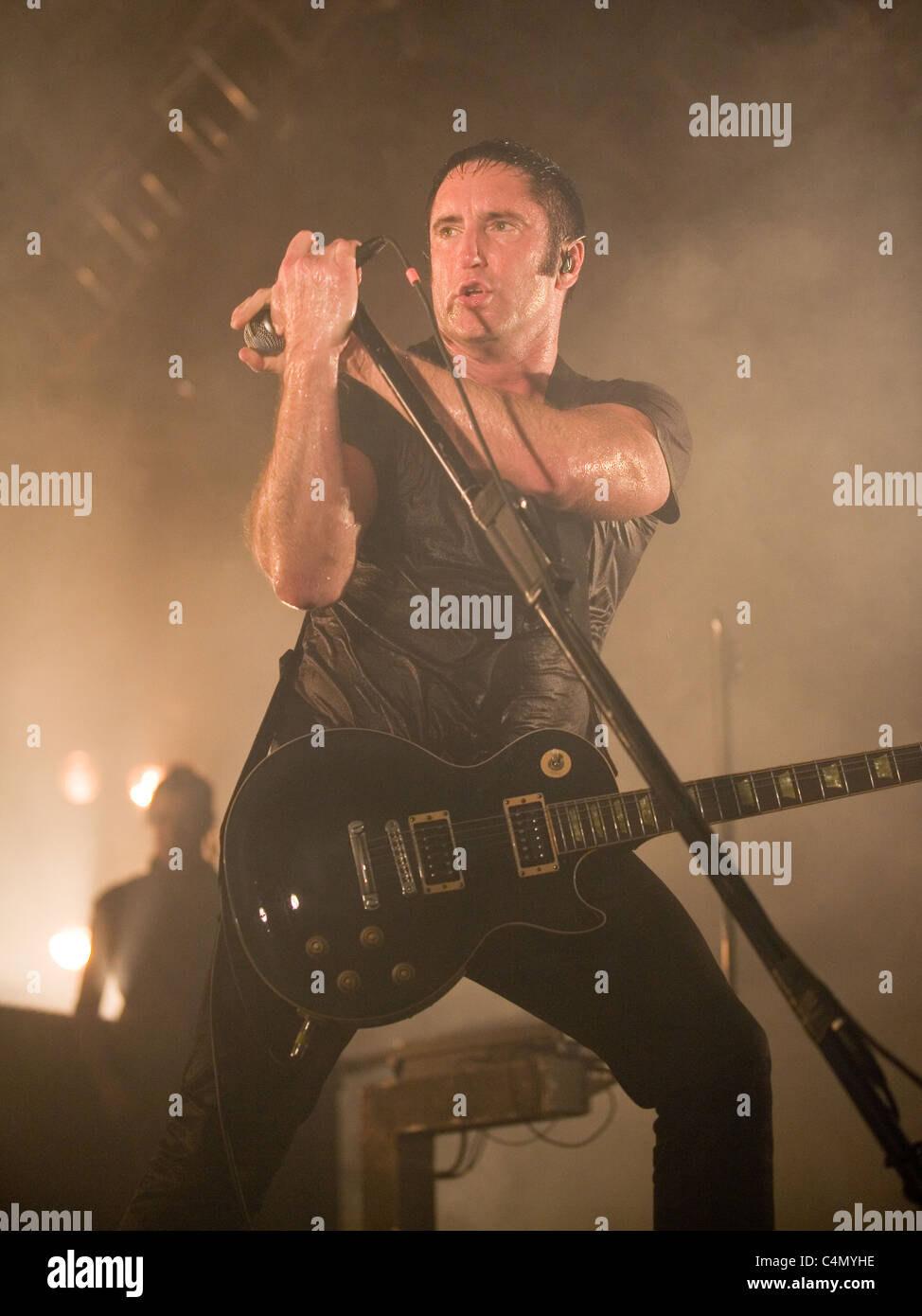Members of the Nine Inch Nails band perform on the concert in Stock ...