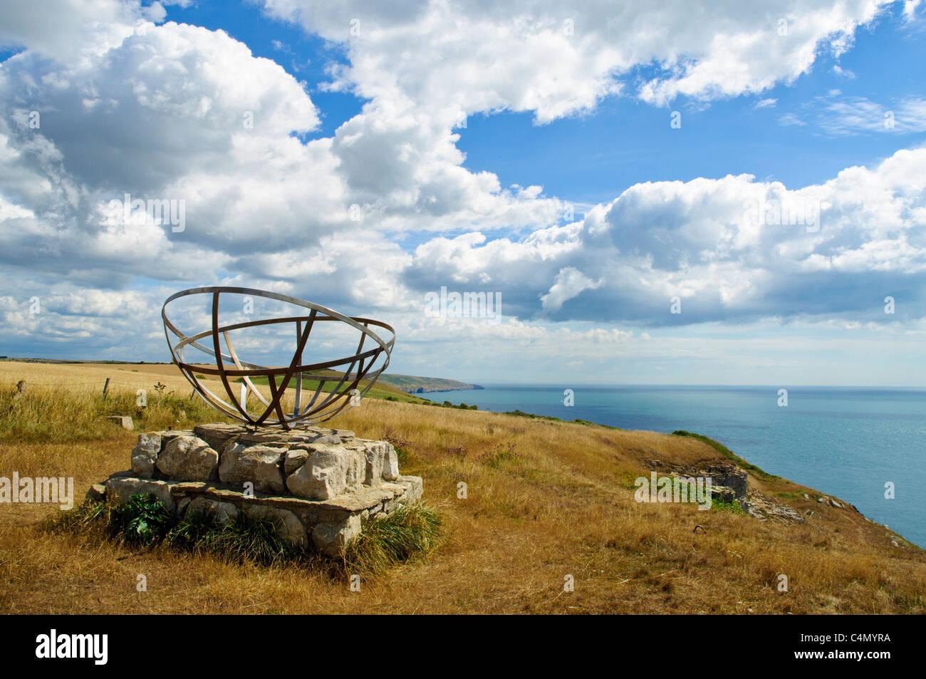Radar memorial at St Aldhelm's Head, Isle of Purbeck, Dorset designed by Tony Viney - Stock Image