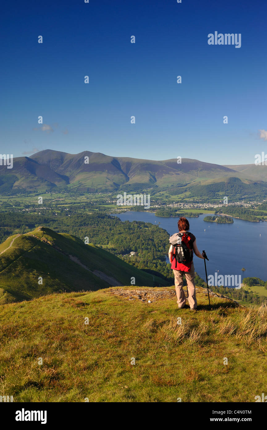 The view across Derwentwater towards Keswick from Catbells summit - Stock Image