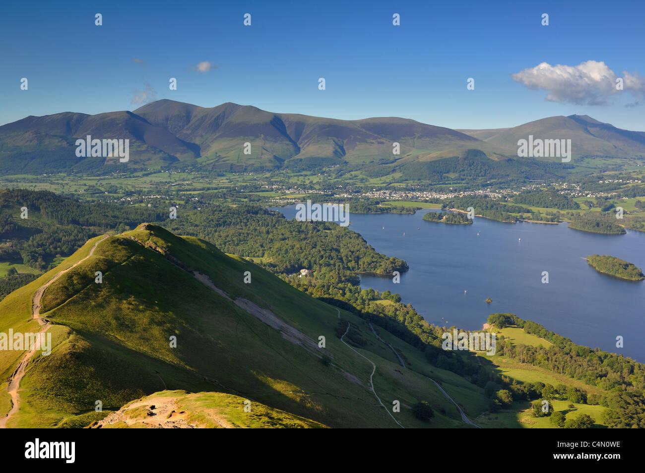 Derwentwater& Siddaw from Catbells summit - Stock Image