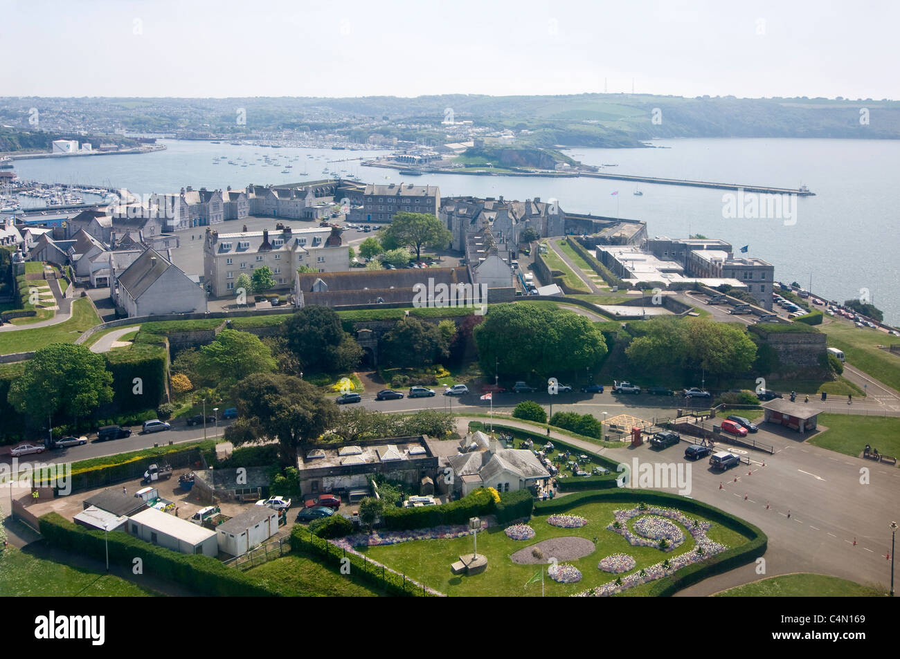 Horizontal Aerial View Across The Royal Citadel On Plymouth Hoe With Natural Harbour Behind In Distance