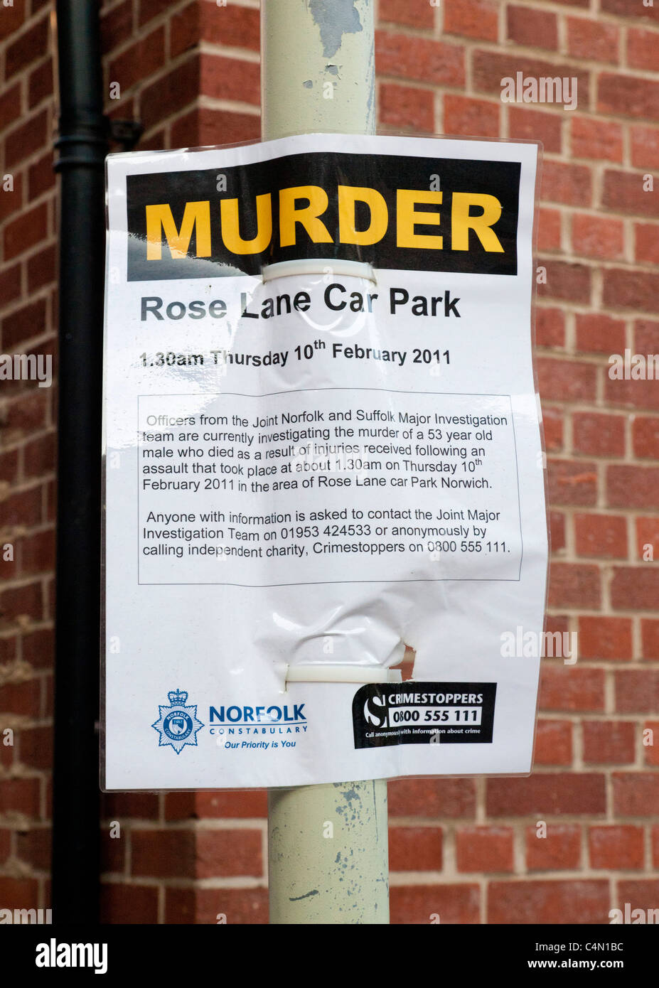 Murder investigation notice posted in UK - Stock Image