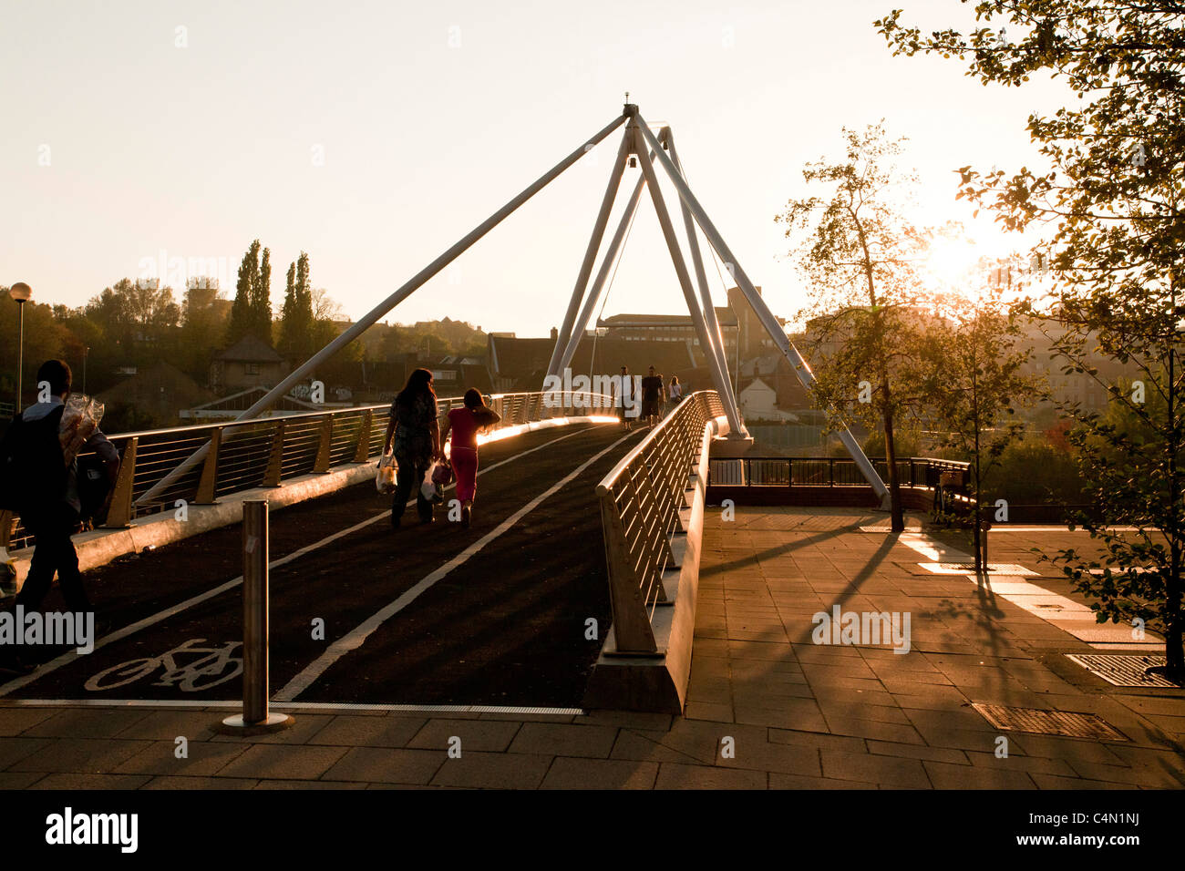 pedestrian bridge across the River Wensum in Norwich, UK - Stock Image