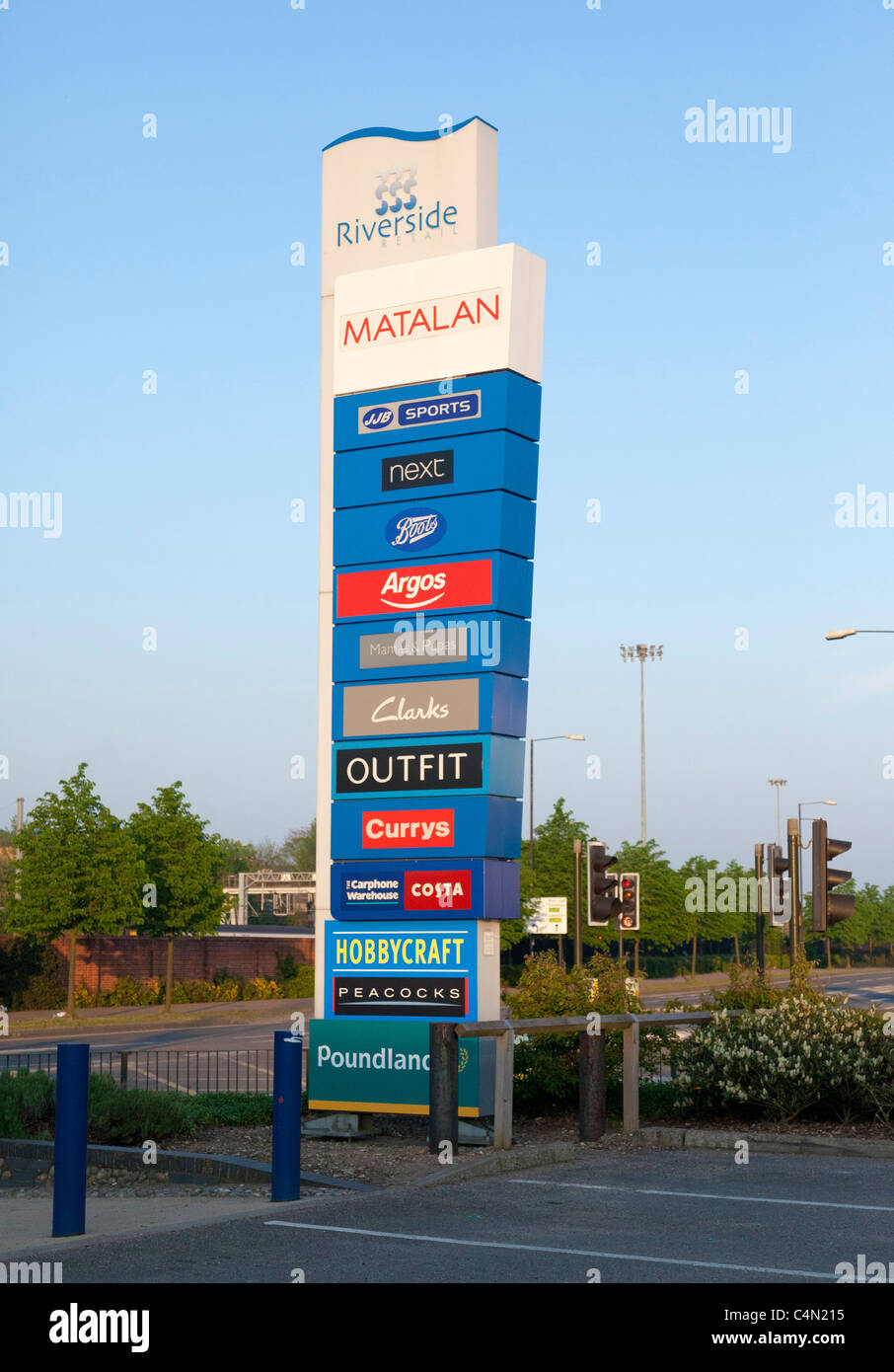 retail park sign showing names of stores, UK - Stock Image
