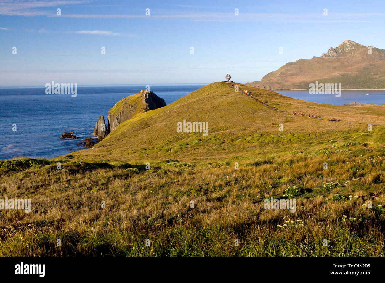A view of Cape Horn, the southern most point in the South America, from land. - Stock Image