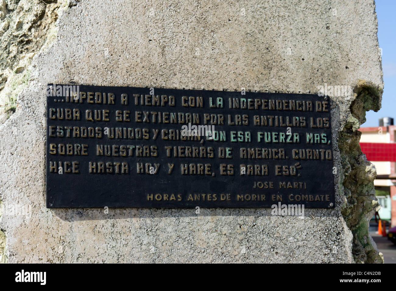 Plaque on Statue of José Martí in the Anti-Imperialist Plaza, Havana, Cuba. - Stock Image