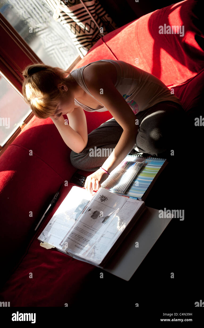 a 16 year old teenage girl revising at home for her GCSE examinations, Wales UK - Stock Image