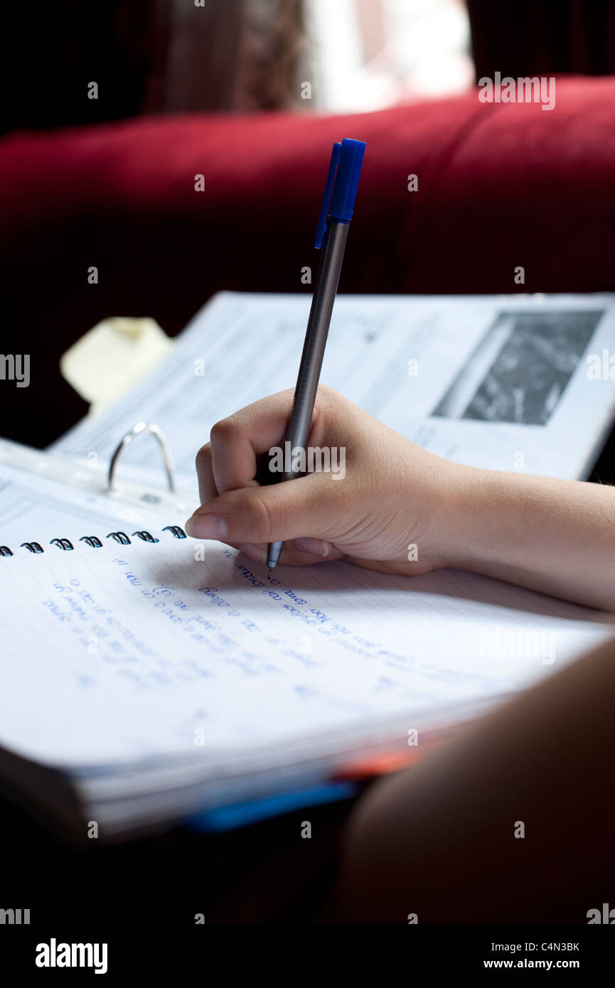 a 16 year old teenage girl revising for her GCSE examinations, Wales UK - Stock Image