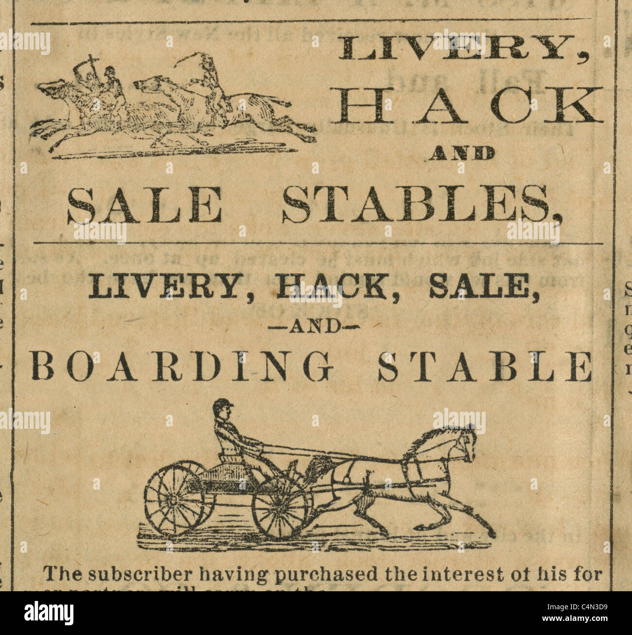 Detail from two 1875 engravings of Livery Hack Stables advertisements from the Kennebec Reporter of Gardiner, Maine, - Stock Image
