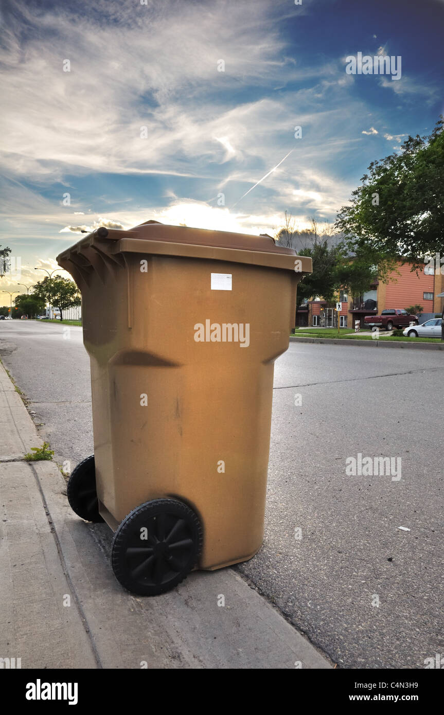 Garbage Can on Roadside - Stock Image