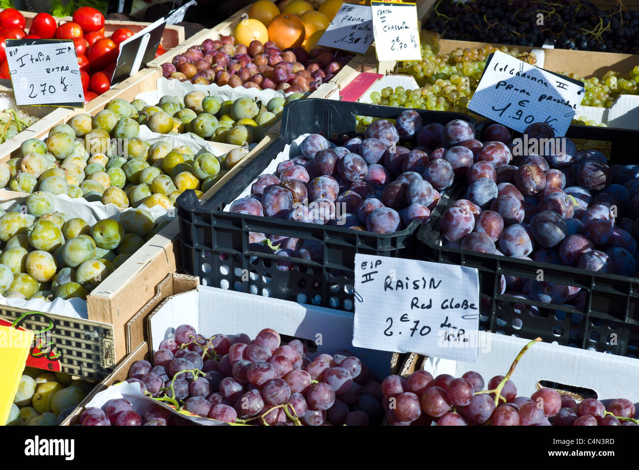 Plums, grapes and greengages fresh fruit on sale at food market at La Reole in Bordeaux region of France - Stock Image