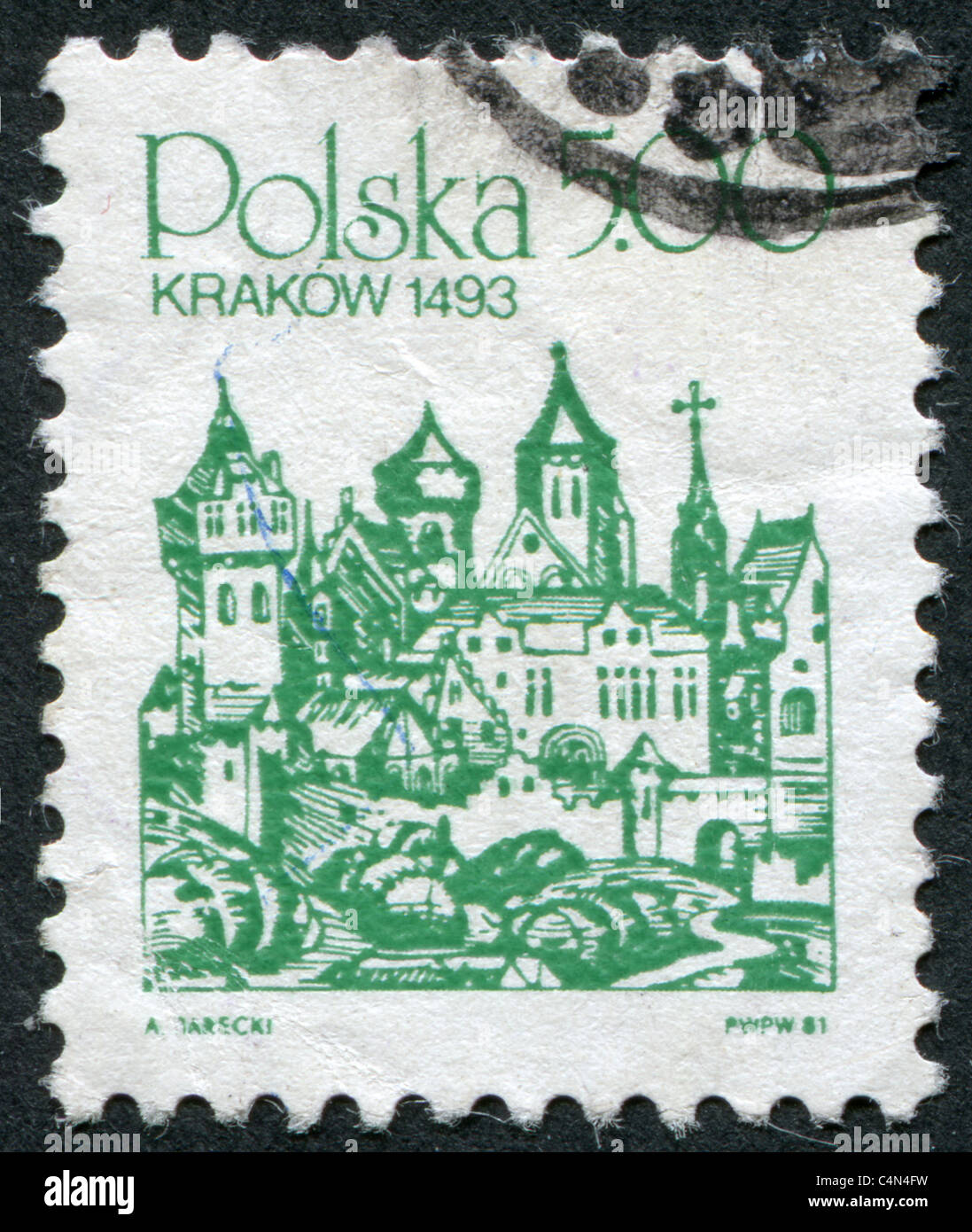POLAND 1981: A stamp printed in the Poland, woodcut Michael Wolgemut and Wilhelm Pleydenwurff of Schedel's World - Stock Image